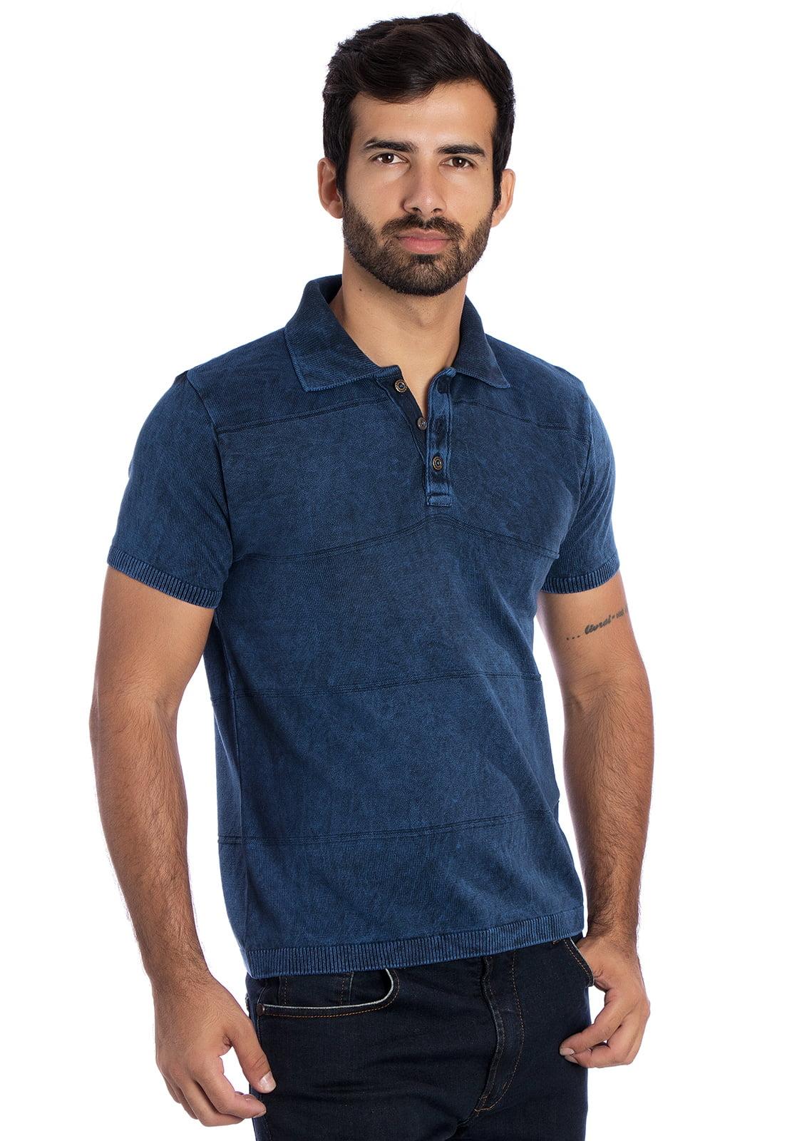 Camisa Polo faixa links azul stoned